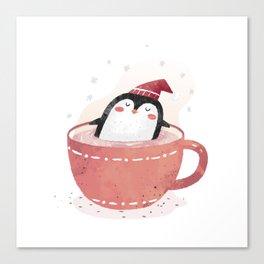 penguin in tea cup Canvas Print