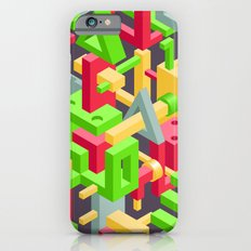 Abstract Geometric Hi-Tech Background with Colorful 3D Objects on Black Slim Case iPhone 6s