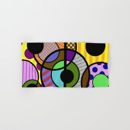Patterned Retro - Geometric, Abstract Artwork Hand & Bath Towel