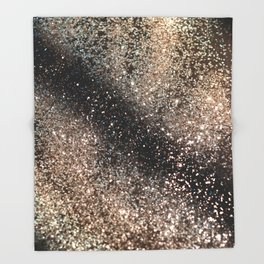 Sparkling GOLD BLACK Lady Glitter #3 #decor #art #society6 Throw Blanket