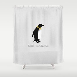 Hello Handsome, Couples Quote Shower Curtain