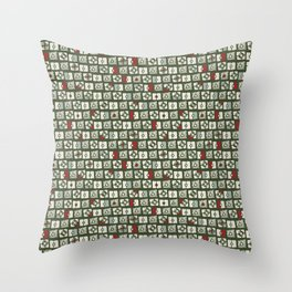 Geometrical green white red abstract stripes squares pattern Throw Pillow