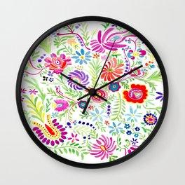 Moravian Flowers Wall Clock