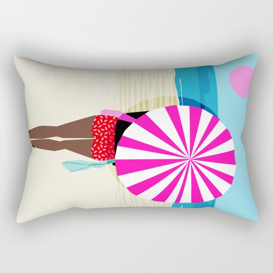 Fer Sure - throwback beach retro socal surfing sport 1980s neon classic 80s style memphis pop art Rectangular Pillow