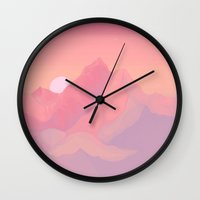 Wall Clocks featuring Peach Haze by LIONESS