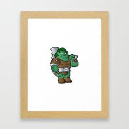 muscular orc in armor. Framed Art Print