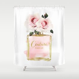 Perfume bottle with Flowers, Pink Roses, Make up, Blush Shower Curtain