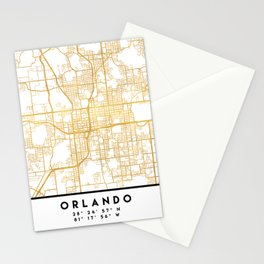 ORLANDO FLORIDA CITY STREET MAP ART Stationery Cards