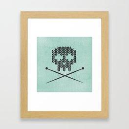 Knitted Skull / Knitting with Attitude (black on vintage aquamarine) Framed Art Print