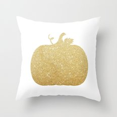 Gold Glitter Pumpkin Throw Pillow