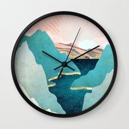 Mint Mountains Wall Clock