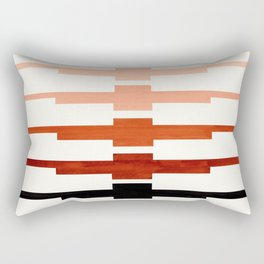 Mid Century Minimalist Ancient Aztec Inca Geometric Pattern Watercolor Brown Colorful Gouache Painti Rectangular Pillow
