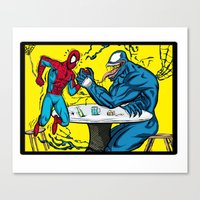 wrestling Canvas Prints featuring Arm wrestling by nullone36