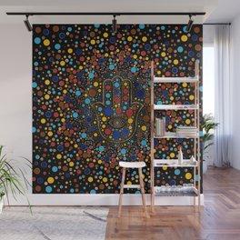 Hamsa Hand - Hand of Fatima colorful dot art Wall Mural