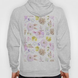 Artist hand painted blush pink lavender watercolor floral Hoody