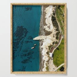 Beach caves and white rocks Serving Tray