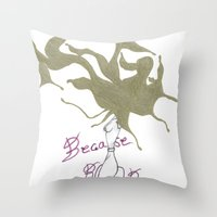 boobs Throw Pillows featuring Because Boobs by Meagan Harman