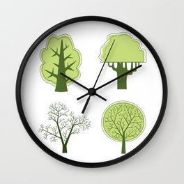 Various options for vector tree on a white background Wall Clock