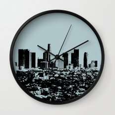 Downtown Los Angeles Skyline - Stamp Pattern on Light Blue Wall Clock