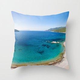 The beach Milia of Skopelos island from drone, Greece Throw Pillow
