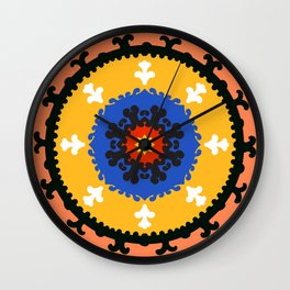 Bold and bright beauty of suzani patterns ver.8 Wall Clock