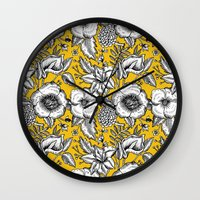 yellow pattern Wall Clocks featuring Yellow by AITCH