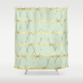 Modern Pastel Green Background with Golden Yellow Circle Lattice Shower Curtain
