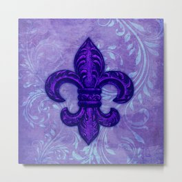 Purple Fleur de Lis Metal Print