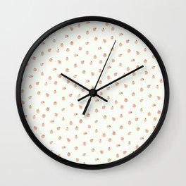 Sweet Peach Polka Dot, Mint Wall Clock
