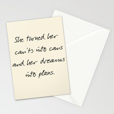 Message to strong women, inspiration, motivation, for dreams, strenght, hard times, plans Stationery Cards