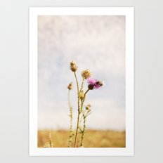 Autumn Botanical Landscape -- Purple Thistle Flower with Bee Art Print