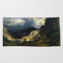 Albert Bierstadt - A Storm in the Rocky Mountains, Mt. Rosalie Beach Towel