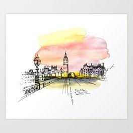 London, Big Ben. Watercolor and ink. Art Print
