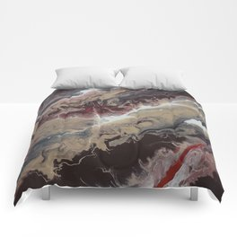 Neutral Black, Red and Brown Painting - Schism Abstract Comforters