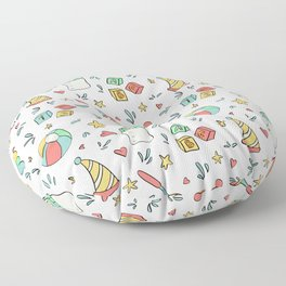 Hand drawn ball, baby bottle, rattle and stars.  Floor Pillow