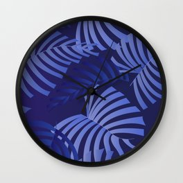 Playful Purple Palms on blue Wall Clock
