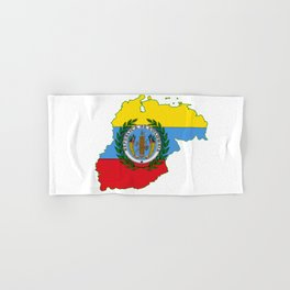 Colombia Map with Colombian Flag Hand & Bath Towel