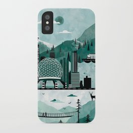 Vancouver Travel Poster Illustration iPhone Case