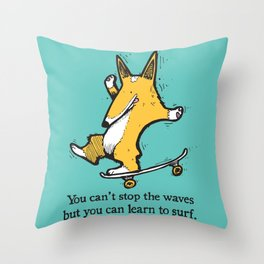 Skate-Corg Throw Pillow