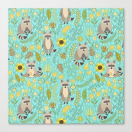 Cute raccoons Canvas Print
