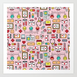 Proud To Be A Nurse pattern in pink Art Print