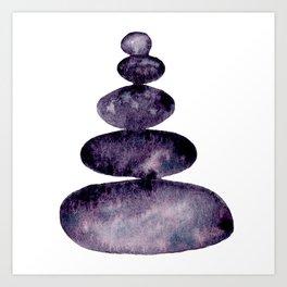 Stacked Stones in Moonglow - Purple Cairn II  Art Print