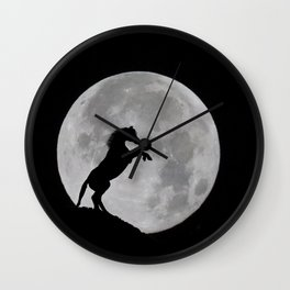 Horse Rearing in Full Moon Wall Clock