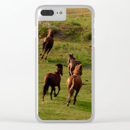 Galloping Mustangs 7 Clear iPhone Case