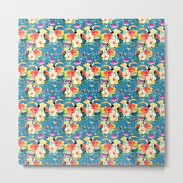bright seamless tropical pattern with flowers and birds on a blue background Metal Print