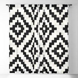 Urban Tribal Pattern No.18 - Aztec - Black and White Concrete Blackout Curtain