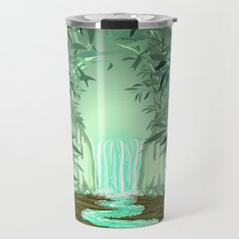 Fluorescent Waterfall on Surreal Bamboo Forest Travel Mug