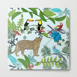 Leopard, toucan parrots and hand drawn tropical leaves and hibiscus pattern Metal Print