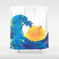 hokusai Shower Curtains featuring Hokusai Rainbow & Hibiscus_Y  by FACTORIE