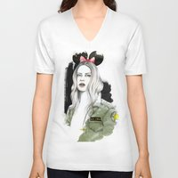 army V-neck T-shirts featuring Army Girl by Camis Gray